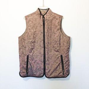 Eddie Bauer Embroidered Vest With Leather Trim